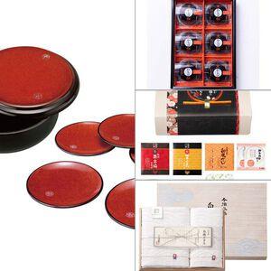 紀州塗 布目杢明月菓子器・銘々皿揃え 4点セット