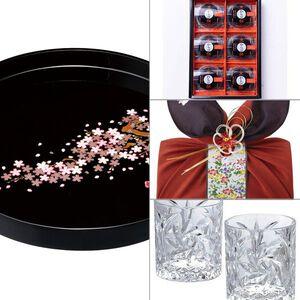 紀州塗 雅桜10.0木製丸盆 4点セット