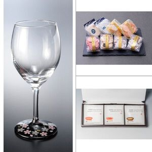 紀州塗 ワイングラス1P蒔絵桜黒 3点セット