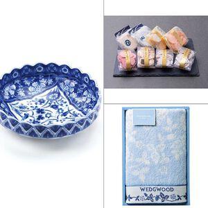 染付更紗菊型漬物鉢 3点セット