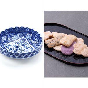 染付更紗菊型漬物鉢 2点セット