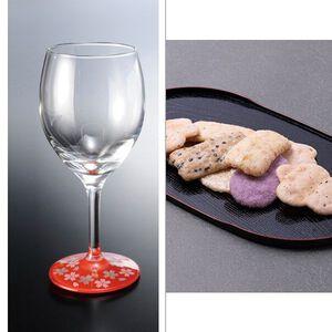 紀州塗 ワイングラス1P蒔絵桜赤 2点セット