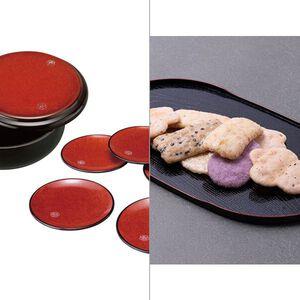 紀州塗 布目杢明月菓子器・銘々皿揃え 2点セット