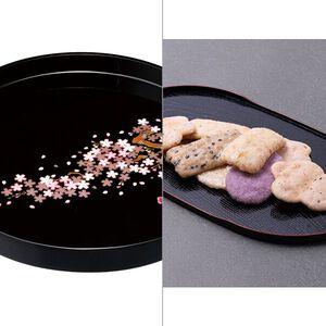 紀州塗 雅桜10.0木製丸盆 2点セット