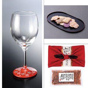 紀州塗 ワイングラス1P蒔絵桜赤 3点セット