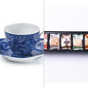 染付濃菊コーヒー碗皿 2点セット