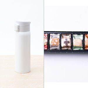 ソワレ ワンタッチステンレスボトル450ml(ホワイト) 2点セット
