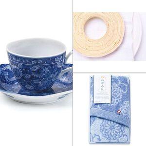 染付濃菊コーヒー碗皿 3点セット
