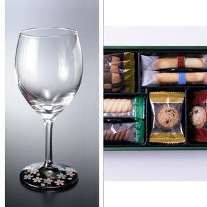 紀州塗 ワイングラス1P蒔絵桜黒 2点セット