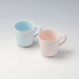 ロイヤルコペンハーゲン フラワーエンブレム マグペア(ブルー&ピンク)