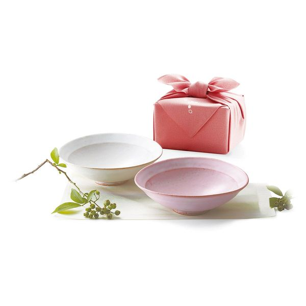 萩焼 うす桜 たわみ鉢ペア