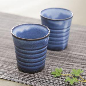 記念品 和グラス 萩焼 萩焼 るり色 ペアカップ