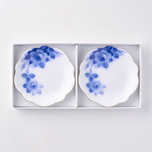 ブルーローズ 梅型小皿ペアセット