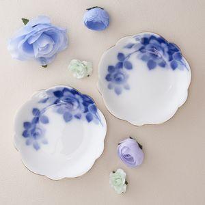大倉陶園 ブルーローズ 梅型小皿ペアセット
