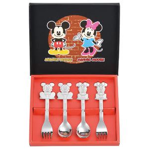 Disney <ミッキー&ミニー>ステンレス・スプーン&フォーク4pc