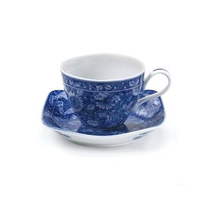 染付濃菊コーヒー碗皿