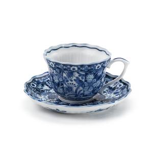 染付更紗コーヒー碗皿