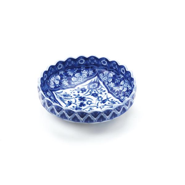 染付更紗菊型漬物鉢