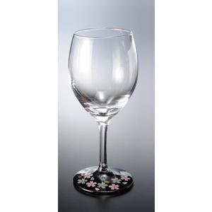 紀州塗 ワイングラス1P蒔絵桜黒