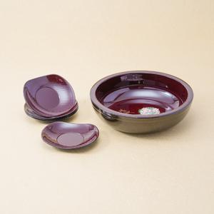 紀州塗 円華多用盛鉢・茶托セット