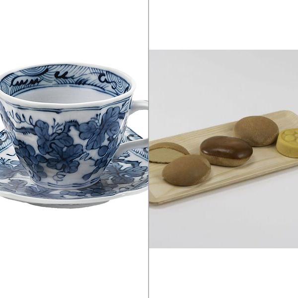 染付ぶどうコーヒー碗皿 2点セット